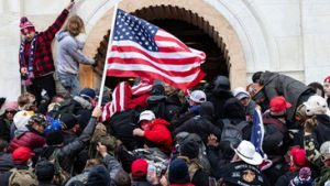 Rioters storming the US Capitol Building